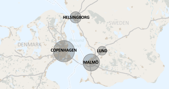 Map of Øresund with major cities circles